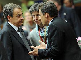 Harte Verhandlungen: Spaniens Regierungschef Zapatero (links) und Frankreich Präsident Sarkozy.