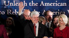Newt Gingrich feiert seinen Sieg in South Carolina.