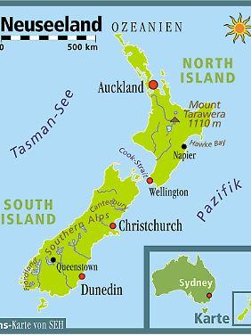 Fast am Ende der Welt: Neuseelands Nordinsel bietet gemäßigtes Klima, die Südinsel ewiges Gletschereis und wilde Fjordlandschaften