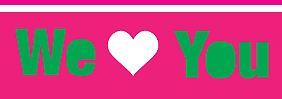 Liebesbotschaften in grün, weiß, pink.