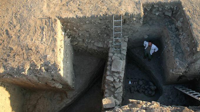 Diese Torwange des Troja- Verteidigungsgrabens legten die Archäologen im Sommer frei.