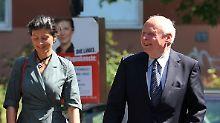 Lafontaine und seine Lebensgefährtin Sahra Wagenknecht. Ihr werden Ambitionen auf den Fraktionsvorsitz nachgesagt.