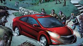 Ein normales Auto kann in der Zombie-Welt nicht helfen.