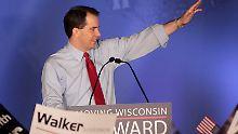 Scott Walker hat das Vertrauen der Wähler zum zweiten Mal gewonnen - mit einem sehr teuren Wahlkampf.