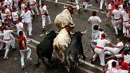 Jagd durch enge Gassen: Die wahnsinnige Hatz von Pamplona