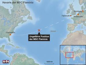 Mindestens 1000 Seemeilen vom Festland entfernt: Die ungefähre Position der Flaminia - jenseits der Reichweite ziviler Rettungsflieger.