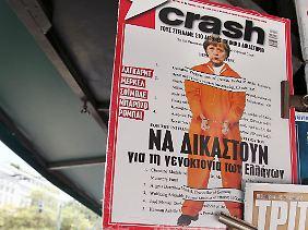 """""""Crash"""" an einem Zeitungskiosk in Athen."""
