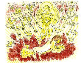 Adam und Eva treiben es bunt - und die himmlischen Chöre preisen sie.