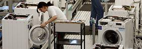Fertigung von Waschmaschinen bei der BSH Bosch und Siemens Hausgeräte GmbH in Nauen (Brandenburg).