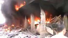 Nach dem Einschlag von Raketen der syrischen Armee in Aleppo.