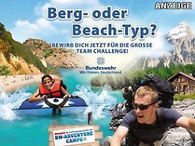 """Werbung für Bundeswehr-Camps, platziert bei der """"Bravo"""". (Screenshot)"""