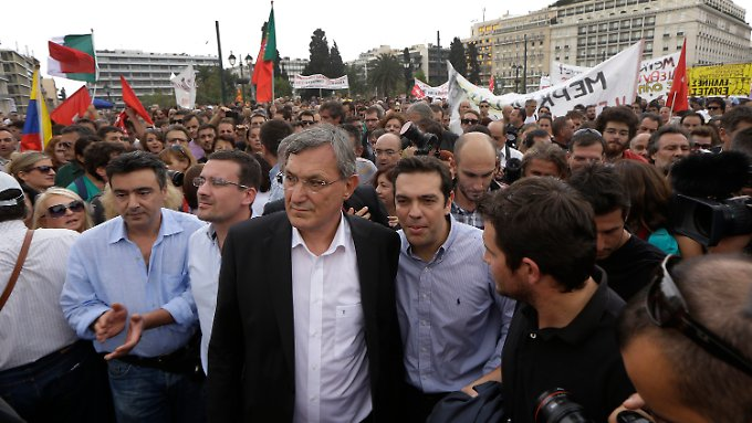 Riexinger mit Syriza-Chef Alexis Tsipras.