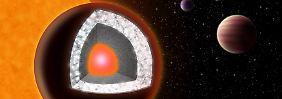 """So stellen sich die Forscher das Innere von """"55 Cancri e"""" vor."""