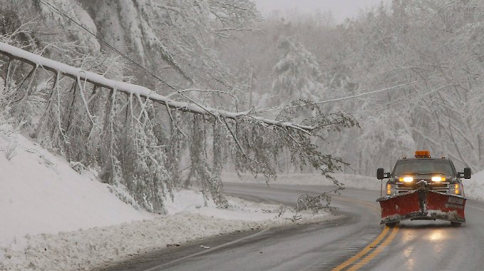 Wie hier in Maryland fällt Schnee - allerdings in beherrschbaren Mengen.