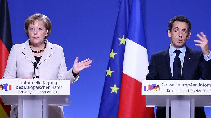 Kanzlerin Mwerkel mit dem französischen Präsidenten Sarkozy auf dem Sondergipfel der EU-Staats- und Regierungschefs Mitte Februar.