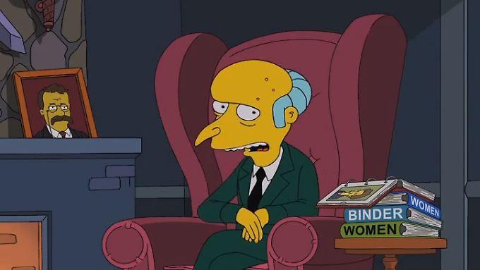 """""""Binders full of women"""", auch auf Burns' Beistelltisch."""