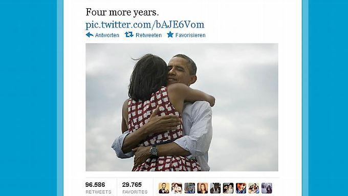 Kurz nach der Entscheidung feierte Obama seinen Wahlsieg auf Twitter und Facebook.
