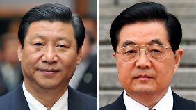 Auf dem Parteitag wird ein Generationswechsel in der Führung eingeleitet. Der zehn Jahre jüngere Vizepräsident Xi Jinping (l) soll den 69-jährigen Hu Jintao nach zehn Jahren Amtszeit ablösen.
