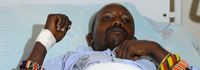 Verletzter Polizist in einem Hospital in Nairobi.