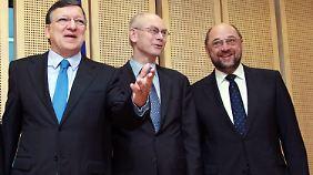 Die Präsidenten der drei führenden EU-Institutionen: Kommissionspräsident Barroso, Ratspräsident Van Rompuy und Parlamentspräsident Schulz.