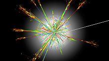 Die Illustration zeigt die Kollision von Atomkernen.
