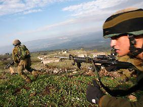 Israelische Soldaten während einer militärischen Übung auf den Golanhöhen im September 2009.