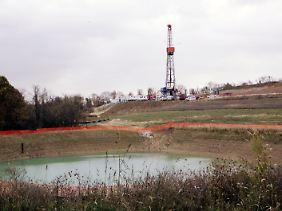 Ein Bohrloch im Marcellus Shale. 2009 gab es in den USA fast 500.000 aktive Gasbohrlöcher.