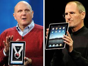 Beim Kampf der Giganten hat Steve Jobs (Apple/rechts) die Nase vor Steve Ballmer (Microsoft).