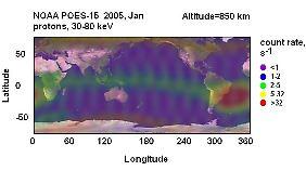 Hier gut zu erkennen: die erhöhte Strahlenbelastung zwischen Südafrika und Südamerika.