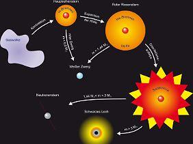 Die Entwicklung eines Sterns von der Gaswolke bis zum Weißen Zwerg oder der Supernova.