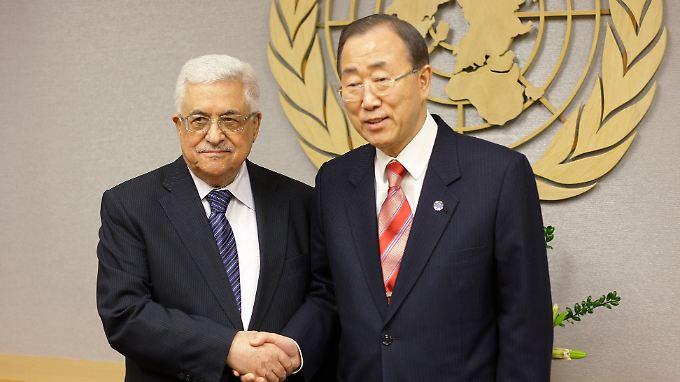 Palästinenserpräsident Mahmoud Abbas und UNO-Generalsekretär Ban Ki Moon. (Archivbild)