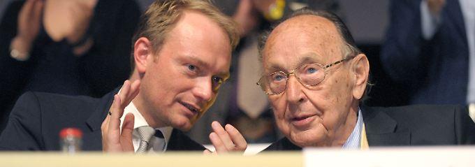 """Lindner und Genscher verbindet """"ihre gemeinsame Leidenschaft für die Freiheit""""."""