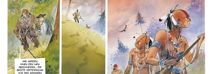 In der Wildnis müssen sich die Trapper vor wilden Tieren und Indianern auf dem Kriegspfad in Acht nehmen.