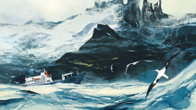 """Doppelseite aus """"Reise zum Kerguelen-Archipel"""" von Emmanuel Lepage."""