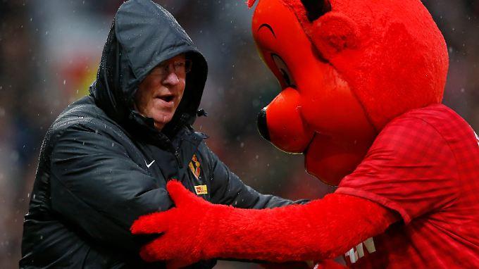 Nervenzehrender Sieg: Trainer Sir Alex Ferguson, Manchester United.