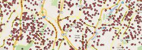 Diese Karte zeigt einen Ausschnitt von Rockland County, in der die Wohnorte von Waffenscheinbesitzern verzeichnet sind.