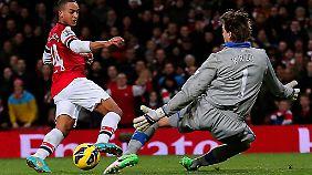 """Arsenal-Coach Arsene Wenger sieht in Walcott den nächsten Thierry Henry. Gegen Newcastle traf Walcott zumindest schon so gut wie der Rekordtorjäger der """"Gunners""""."""