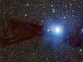 Die Aufnahme zeigt die Dunkelwolke Lupus 3, in der sich neue Stern bilden. Die Ansammlung hell strahlender Sterne verlässt hingegen gerade ihre Kinderstube.
