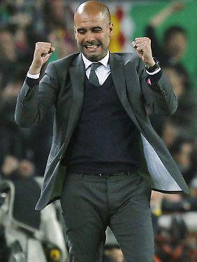 Auf der Sprachschulbank hat Guardiola offenbar schon den ersten deutschen Erfolg gefeiert.