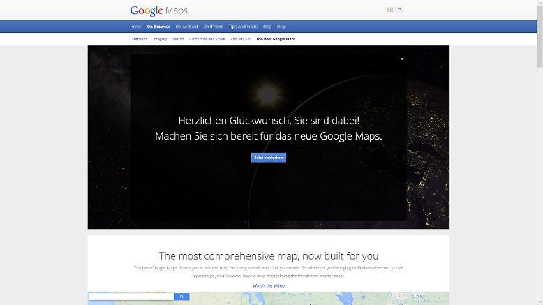 """Wer sich gleich nach der Präsentation bei Googles Entwicklerkonferenz I/O als Tester anmeldete, darf jetzt vorab den neu gestalteten Kartendienst """"Maps"""" ausprobieren."""