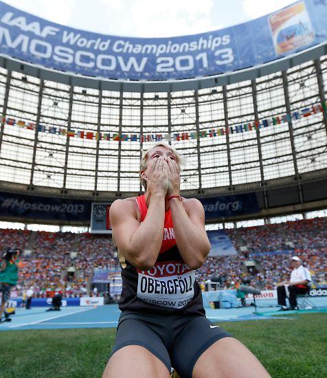 Sie legte das vierte Goldhäubchen auf die deutsche Bilanz bei den Leichtathletik-Weltmeisterschaften: Christina Obergföll warf den Speer auf 69,05 Meter und wurde damit erstmals Weltmeisterin.