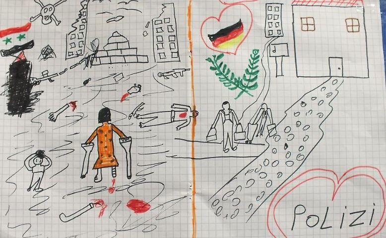 Die Bilder, die Flüchtlingskinder in einem Auffanglager in Passau gemalt haben, zeigen, wie nah Leid und Hoffnung beieinander liegen und...