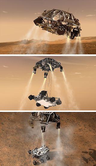 ... der Forschungsrover Curiosity wohlbehalten auf dem Roten Planeten aufsetzt. Sieben quälende Minuten lang haben ...