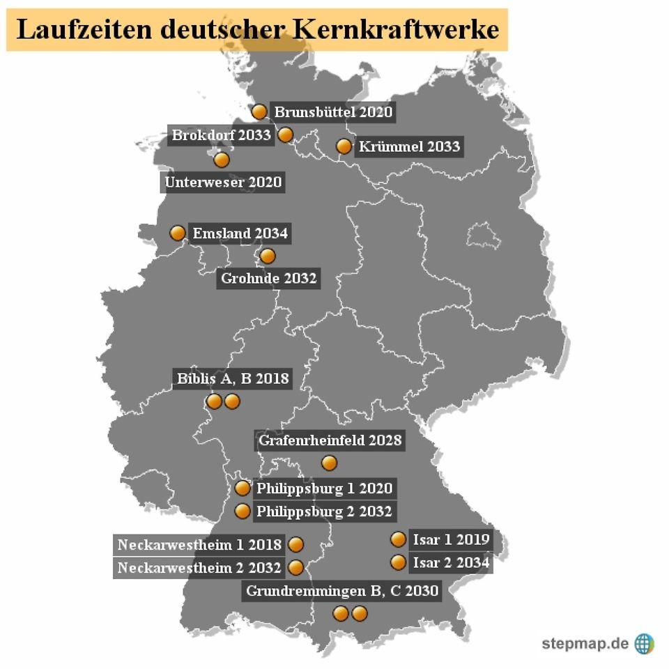 Immer länger am Netz: Die Atomkraftwerke in Deutschland - n-tv.de - Atomkraftwerke In Deutschland Karte