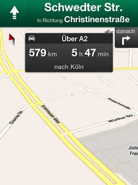 Google Maps Navigation ist wie für sieben Zoll große Displays gemacht.