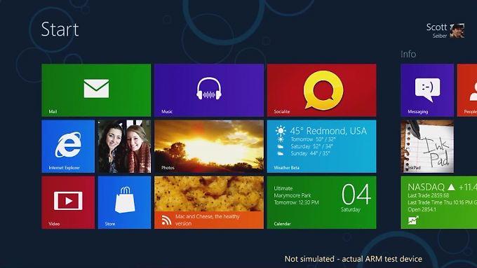 Die Metro-Oberfläche von Windows 8 ist vor allem für Tablet-Rechner geeignet.