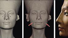 Die Aufnahmen zeigen, an welchen Stellen die Büste verändert wurde.